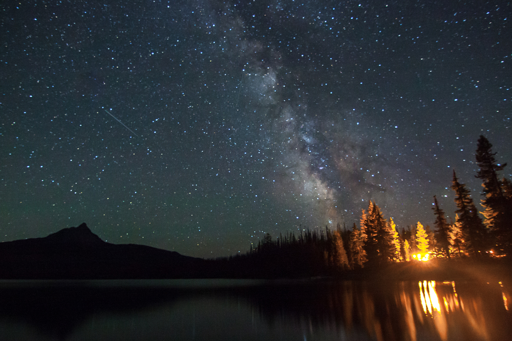 International Space Station over Big Lake and Mt Washington, Oregon, 2014.