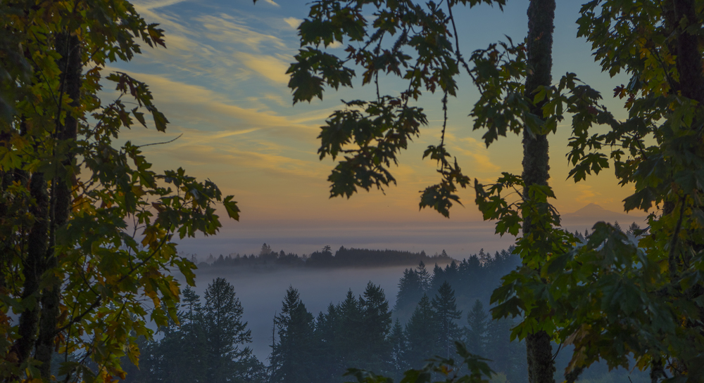 Sunrise from West Salem of Mt Hood. Oregon
