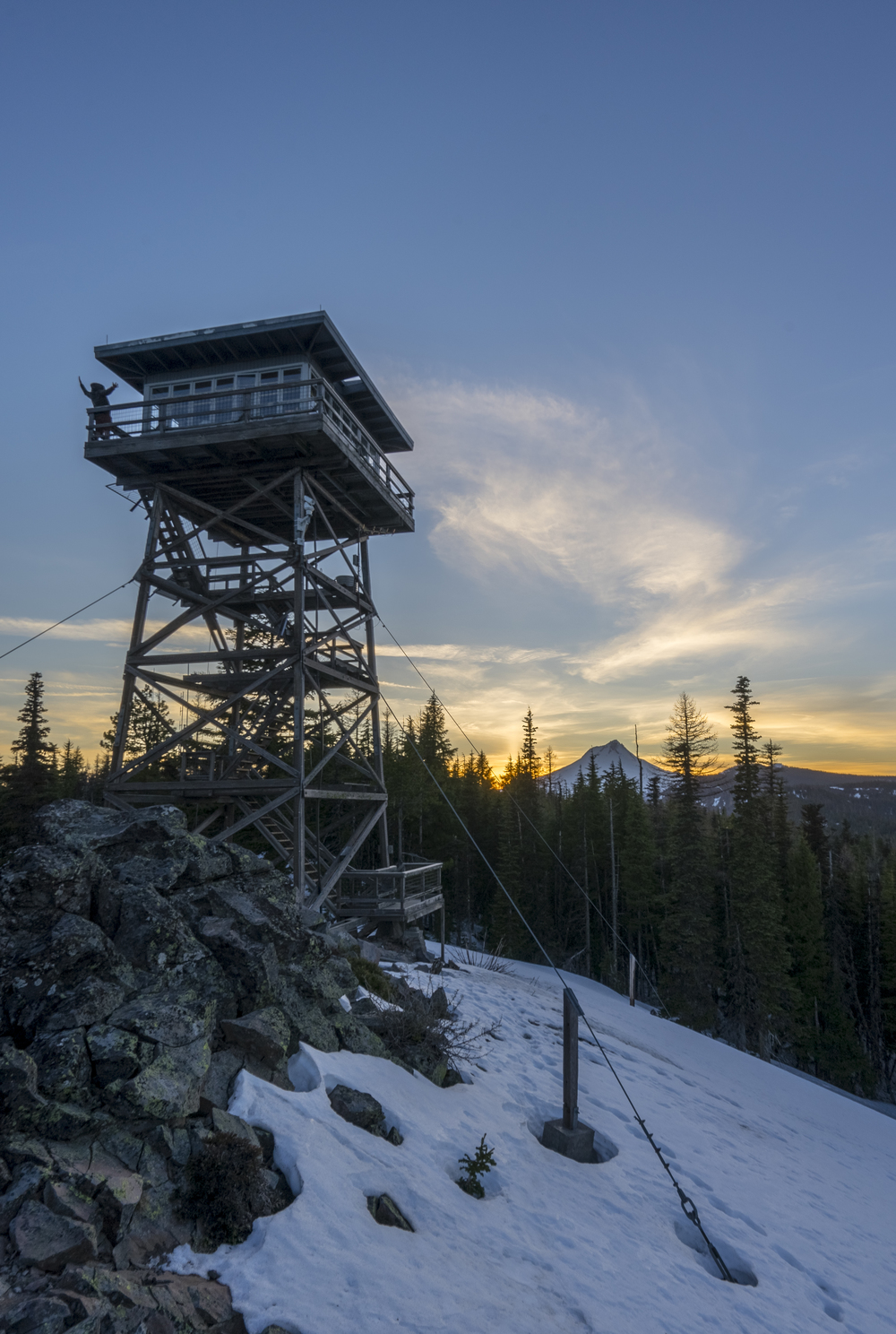 Sunset at Flag Point Lookout tower and Mt Hood.