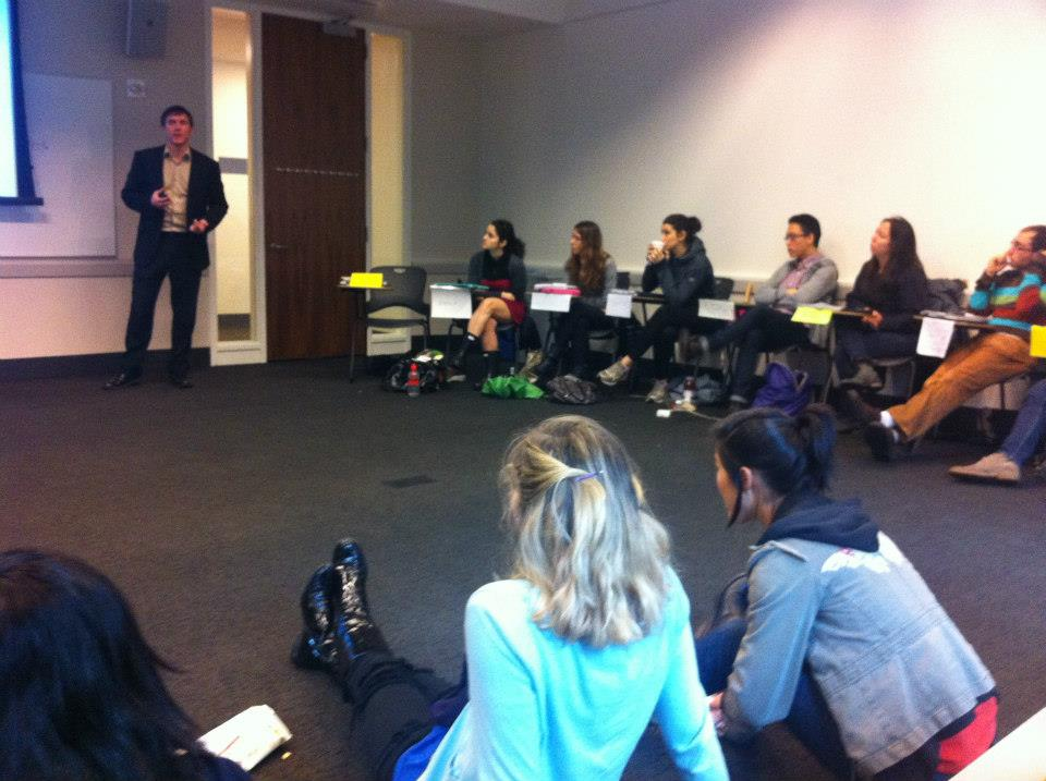 Speaking to a class at NYU