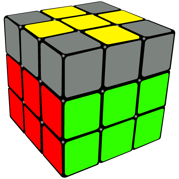 yellow cross on the top of the Rubix Cube.