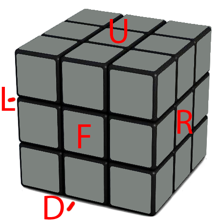 In the following instruction, this is how I display the cube and how I will refer to the different faces of the Rubik's Cube F - Front   R- Right   U - Up  D - Down  L- Left