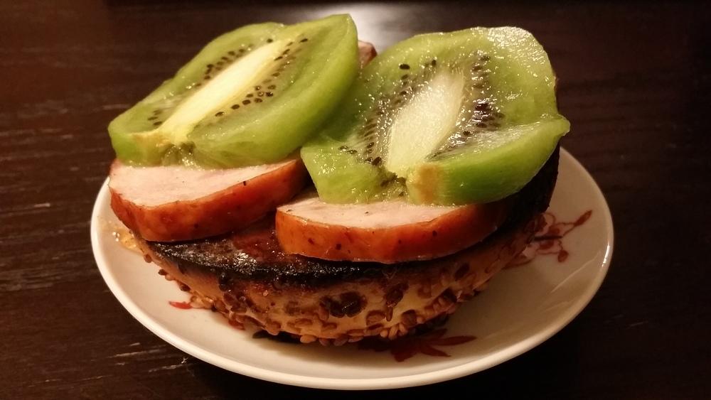 Kiwi Kielbasa Guava Jam Everything Bagel. San Francisco, CA.