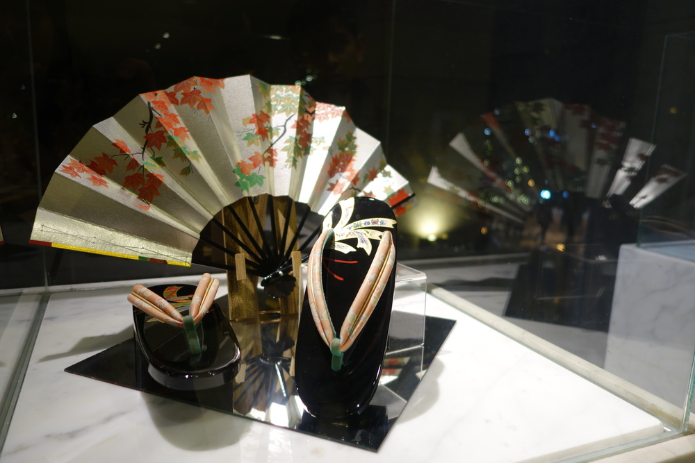Traditional Japanese footwear & matching folding fan.