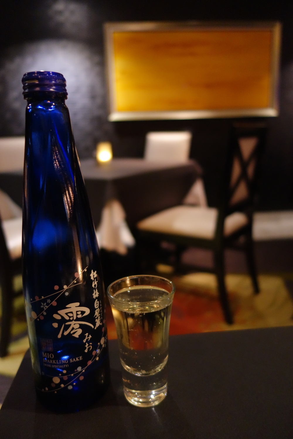 Mio Sparkling Sake at Anzu  Restaurant and Bar.