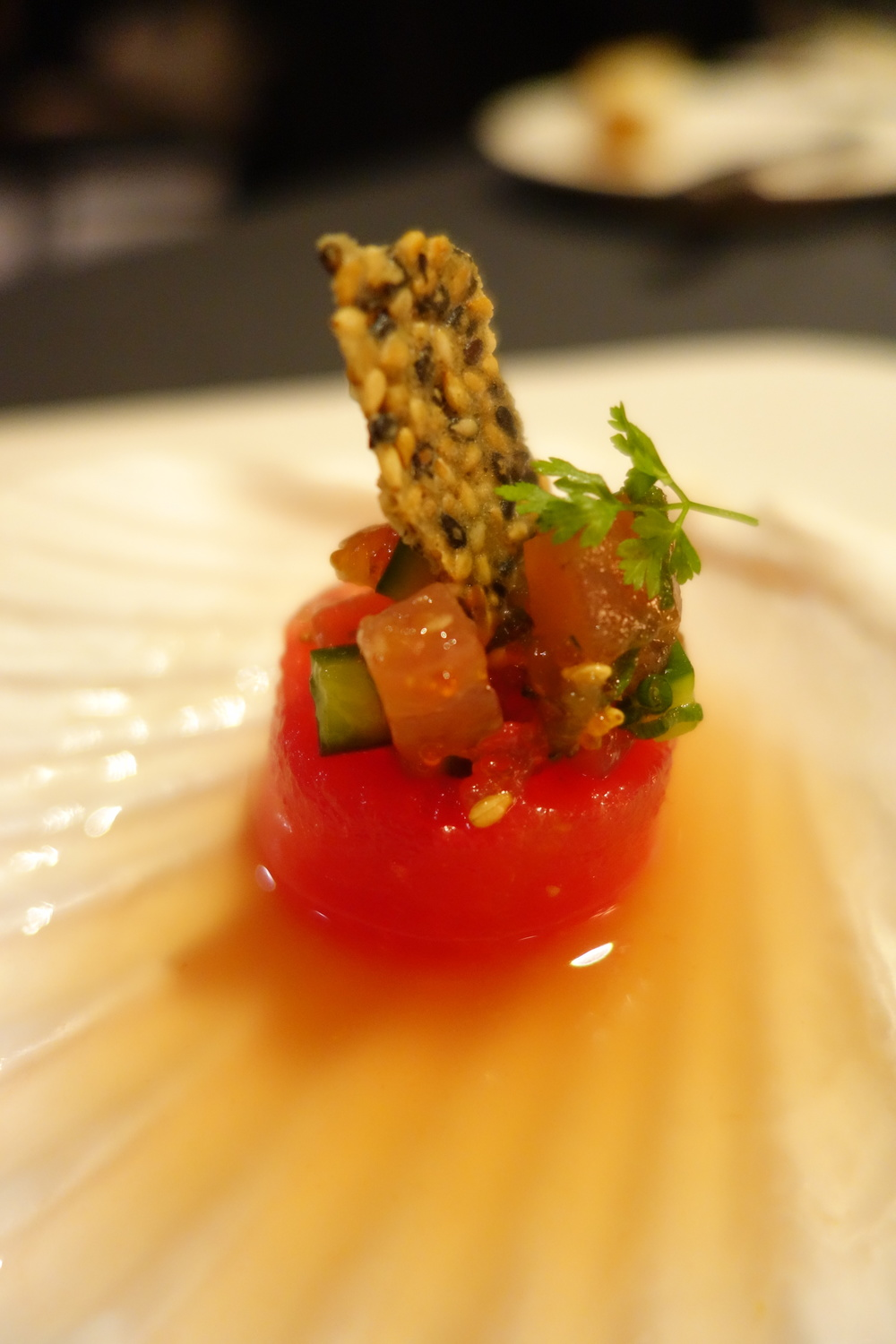 Watermelon & Tuna Poke at Anzu Restaurant and Bar.