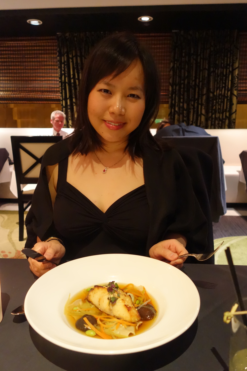 Sandy Elle with the Misoyaki Black Cod at Anzu Restaurant and Bar.