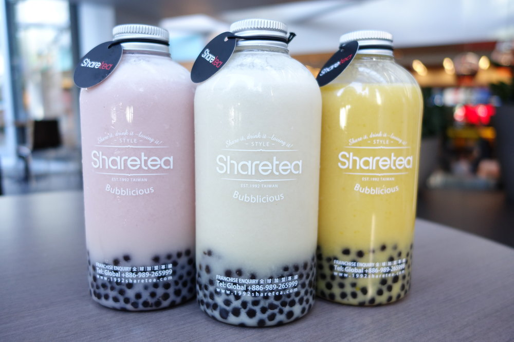 From Left:   Strawberry  ,   Pineapple   &   Mango Fruity Bottle Shakes    at the   Sharetea Metreon   in SF.   Copyright of    SandyByTheBay.com