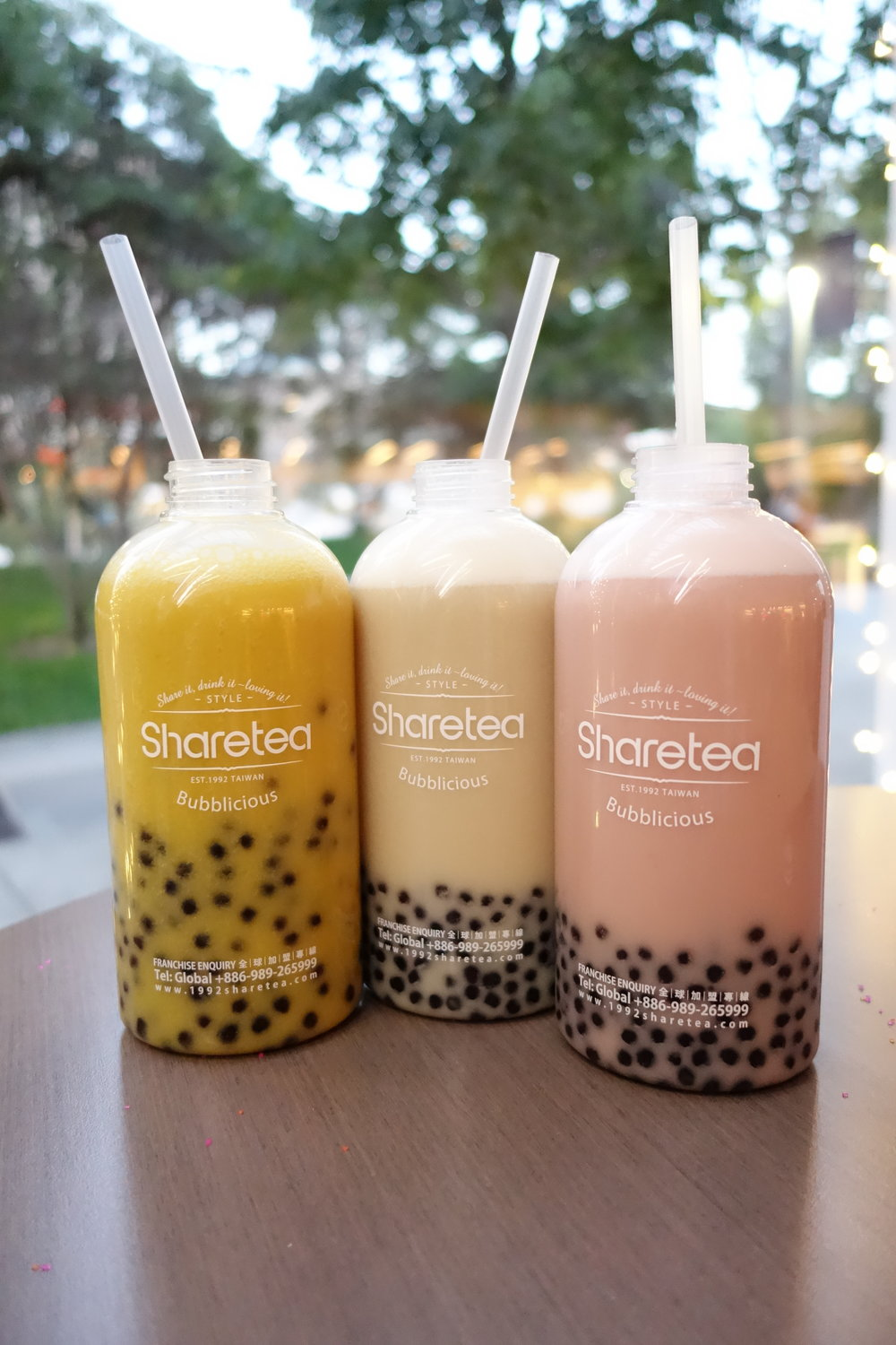 Fruity Bottle Shakes (From Left: Mango, Pineapple, Strawberry)