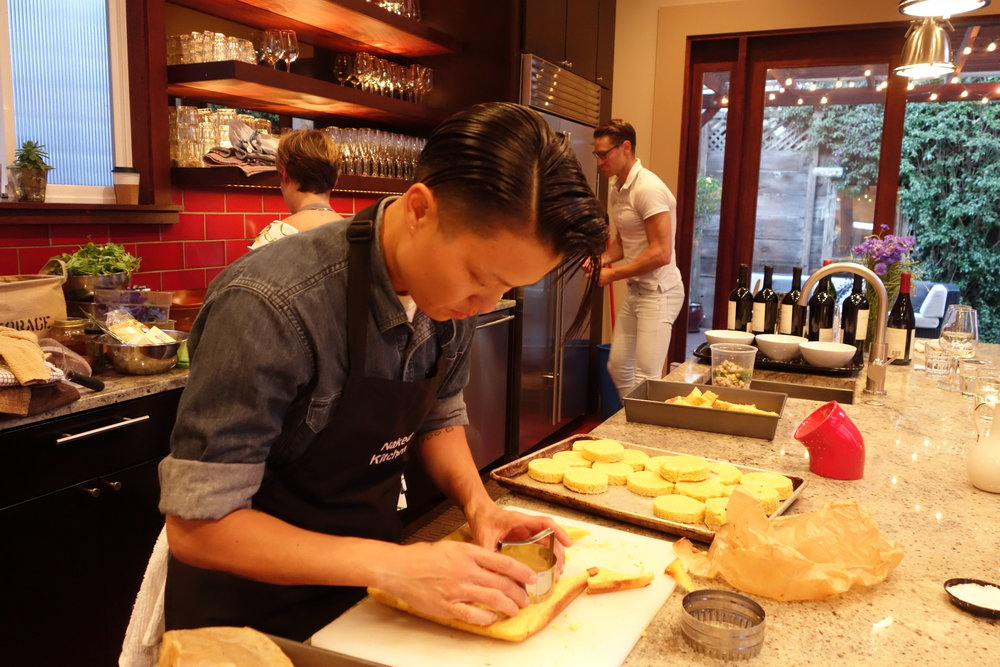 Let's Eat Sonoma Team Member Keiko Takano working in the kitchen