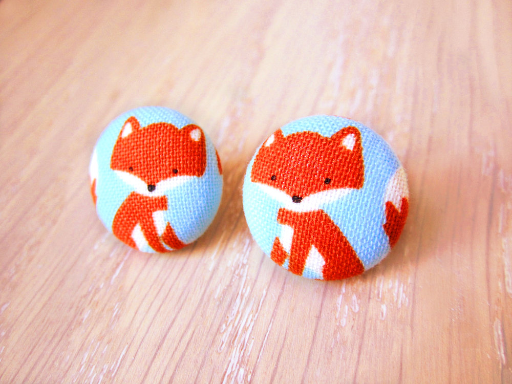Fox Button Earrings