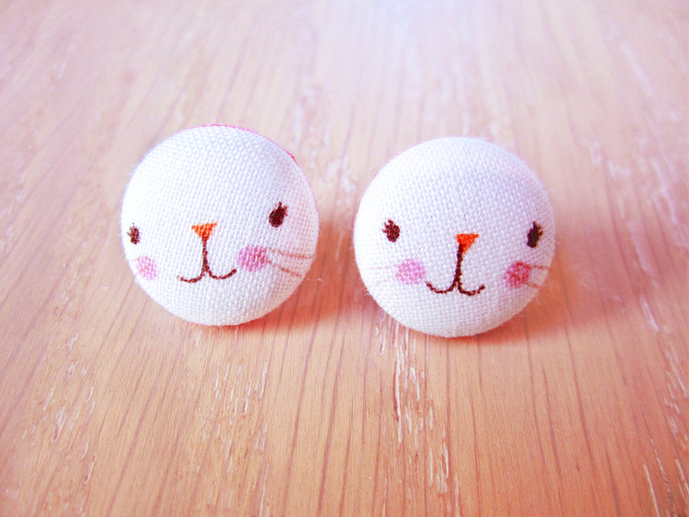 Bunny Button Earrings