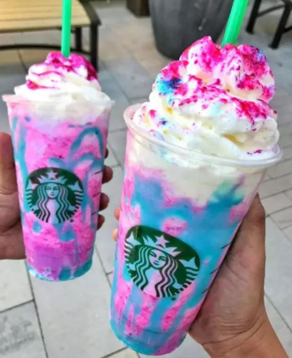 Starbucks Unicorn Frappuccinos. Copyright of BuzzFeed.