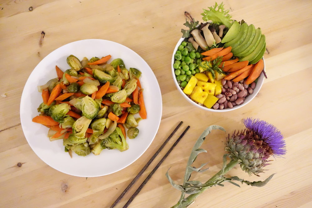 Clockwise From Left: Maple Glazed Brussel Sprouts, Vitality Bowl & Artichoke Flower