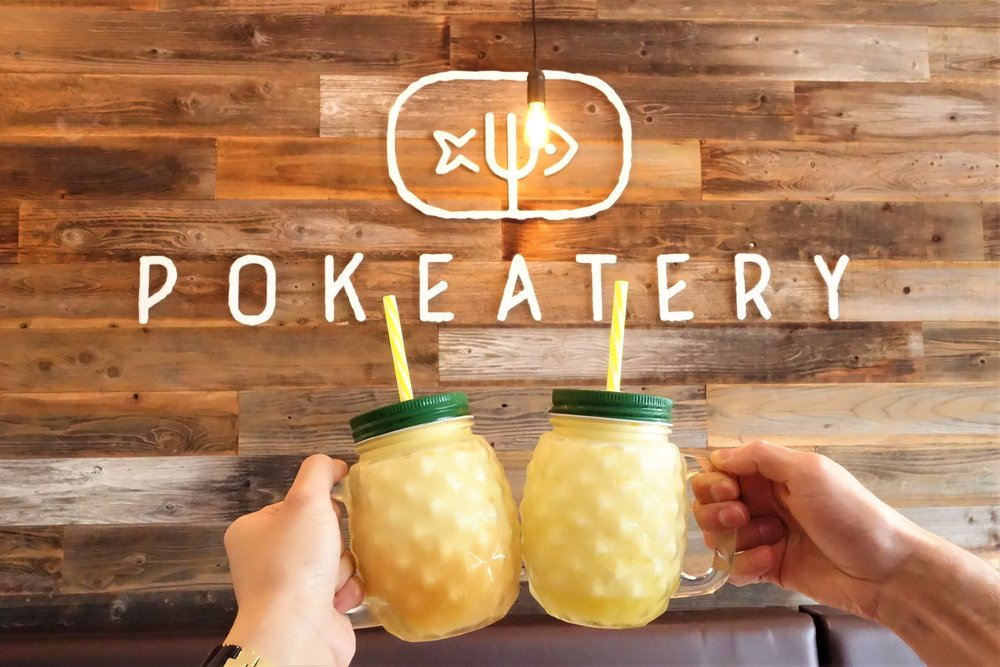 POG Dole Whip Float (Left) & Pineapple Dole Whip Float (Right). Pokeatery in Walnut Creek, California.