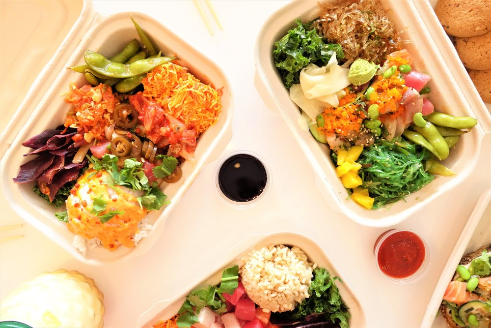 The Volcano Crunch Poke Box (Left Top) & The Workout Poke Box (Right Top). Pokeatery, Walnut Creek, CA.
