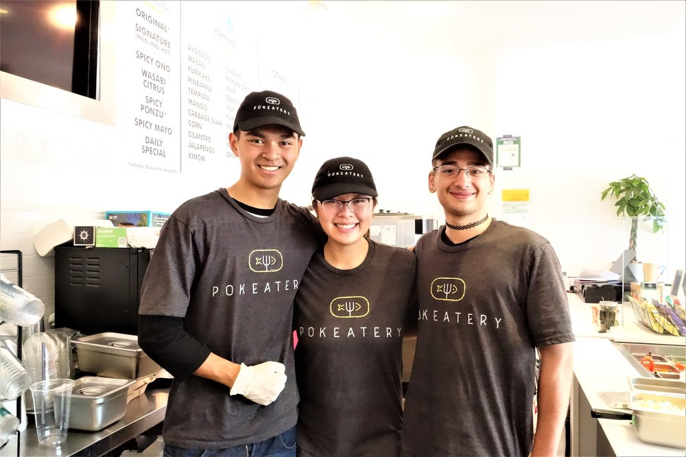 The Super Awesome Pokeatery Team (Joren, Jenirae & William). Pokeatery in Walnut Creek, California.