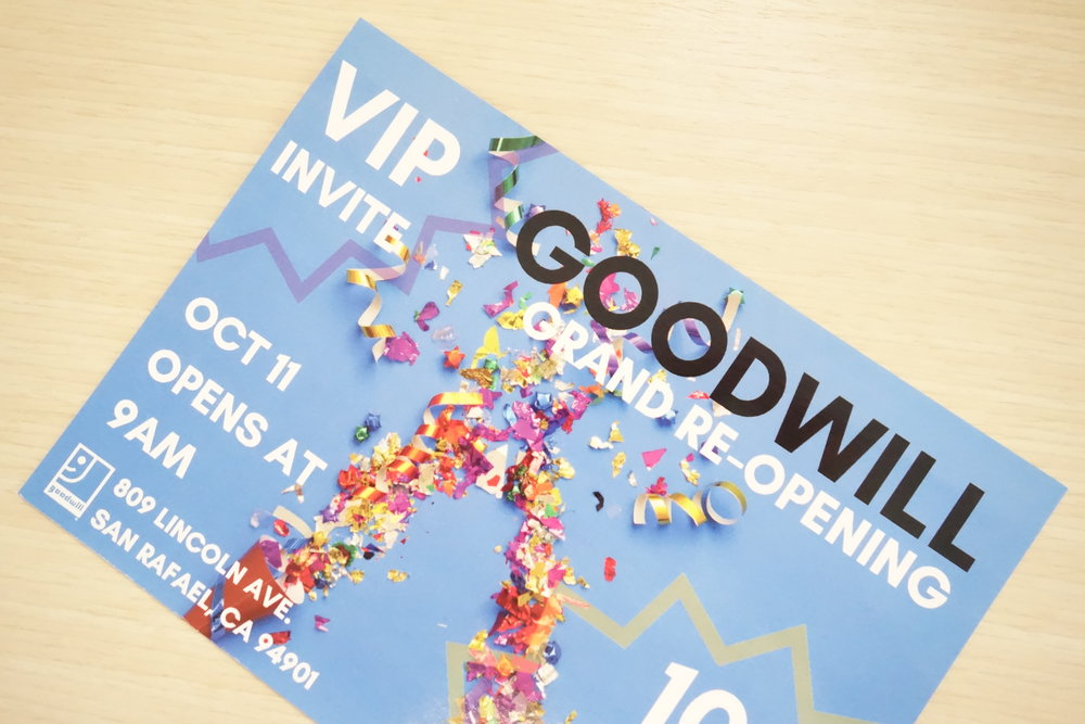 Goodwill VIP Invite for San Rafael Store Re-opening