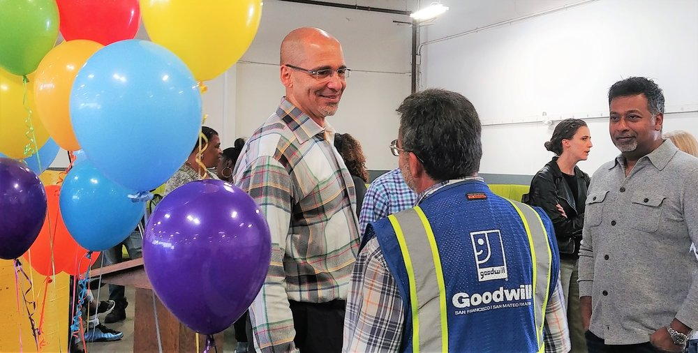 William Rogers  - CEO & President of Goodwill San Francisco, San Mateo & Marin Counties, talking with employees at the Annual Employee Appreciation Week