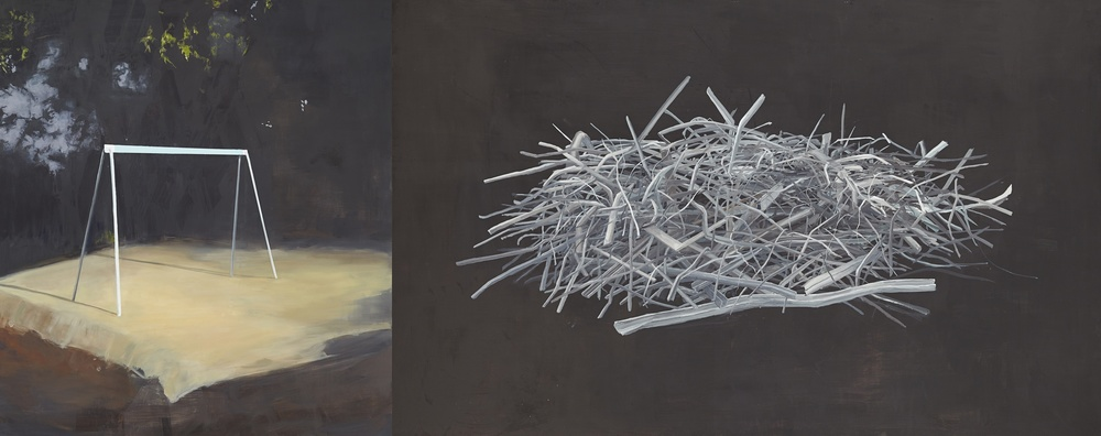 The Falling of Night    2013 Oil on Board 120 x 300cm