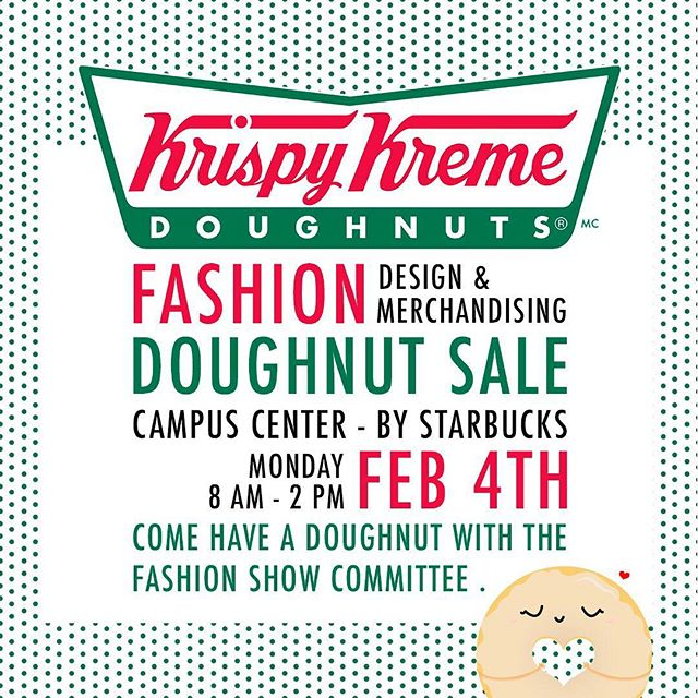 This coming Monday we will be selling Krispy Kreme doughnuts in campus center! Swing by between 8AM & 2PM to fixate your sweet tooth🍩