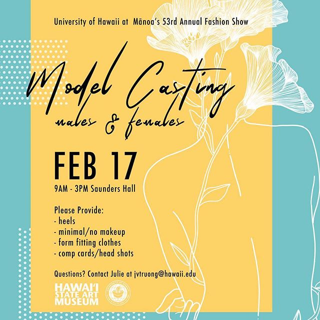 Calling all male and female talent! We are seeking models for our upcoming show. If you're looking to build your resume, gain experience, or do runway, join us for our open auditions on February 17th & 18th. We are also available by appointment. Can't wait to see you there! ✨#hawaiimodel #hawaiimodelsearch #modelshawaii