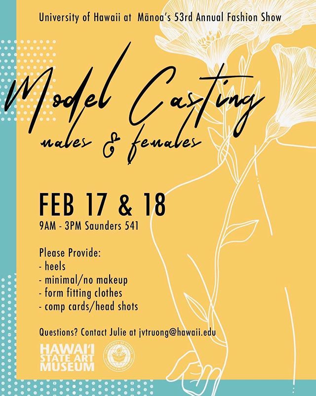 Hi guys! We have added another day! We are also doing the 18th. We're calling all talent. Tell your friends and family. 💜😊🤗We're excited to meet you all. Mahalo! #hawaiimodel #hawaiimodelsearch #modelshawaii
