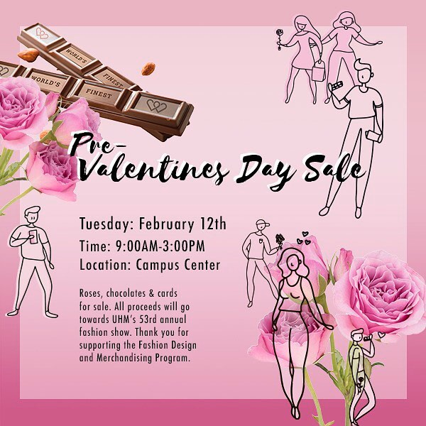 Catch us in Campus Center TOMORROW! 🌹💕 #uhmanoa #fashionshow #valentines