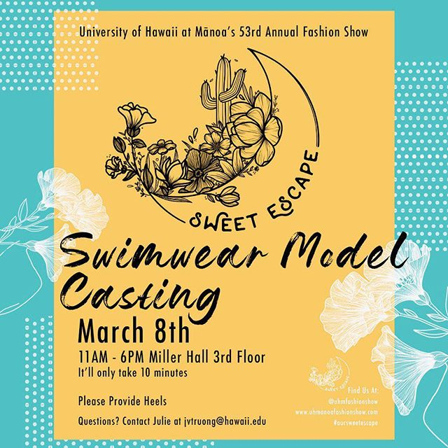 Good Morning Beautiful people of Hawai'i. We are doing another model casting next week! How exciting! If you guys didn't get a chance to come the last few times, this is your chance. We'll see you there. Mahalo💜🌹. #modelcasting #hawaiimodelcall #hawaiimodelcasting #hawaiimodelcast #uhmfashionshow  #uhmfashion