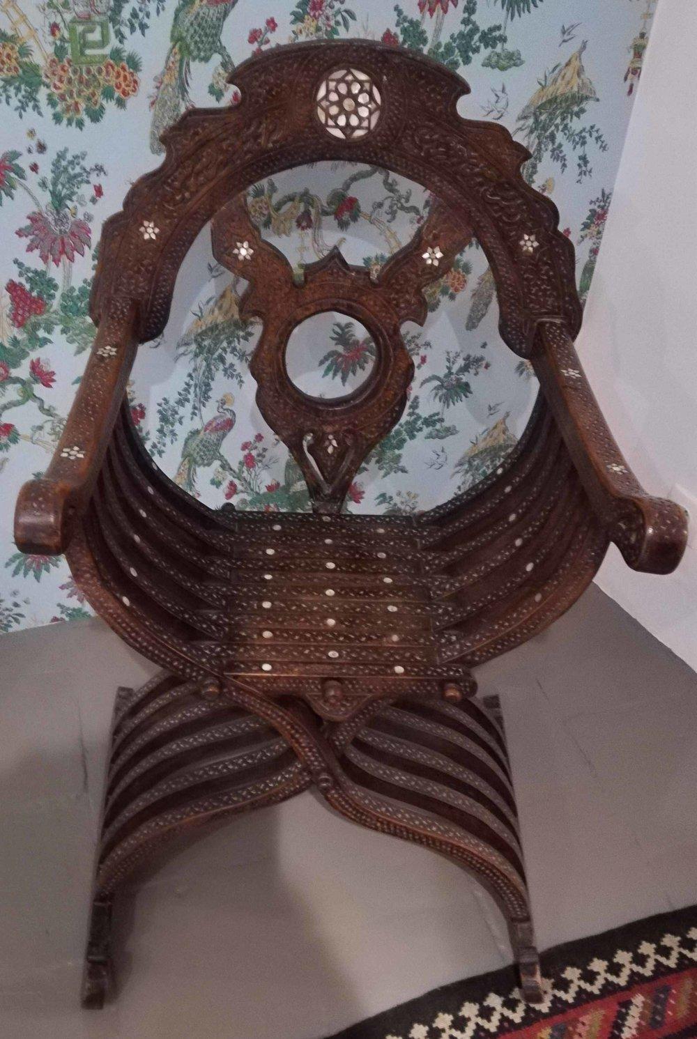 item 4: Ottoman Syrian mother of pearl inlaid Savonarola chair