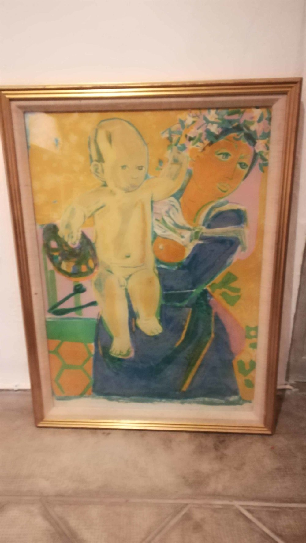 item 5: Roger Bezombes Woman and Child lithograph, pencil signed