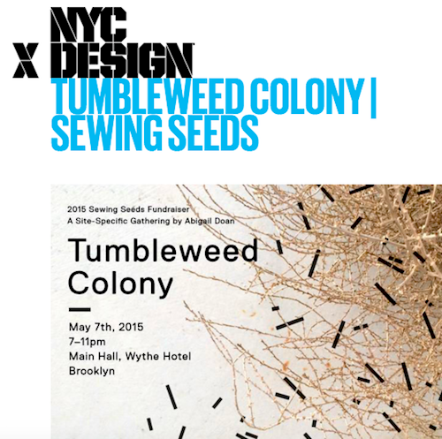 Tumbleweed Colony was a site-specific gathering created to promote the Textile Art Center's Sewing Seeds program in Brooklyn and Manhattan. Curated by Abigail Doan with the assistance of a talented bi-coastal roster of artists and designers, including natural dye artist, Sasha Duerr.