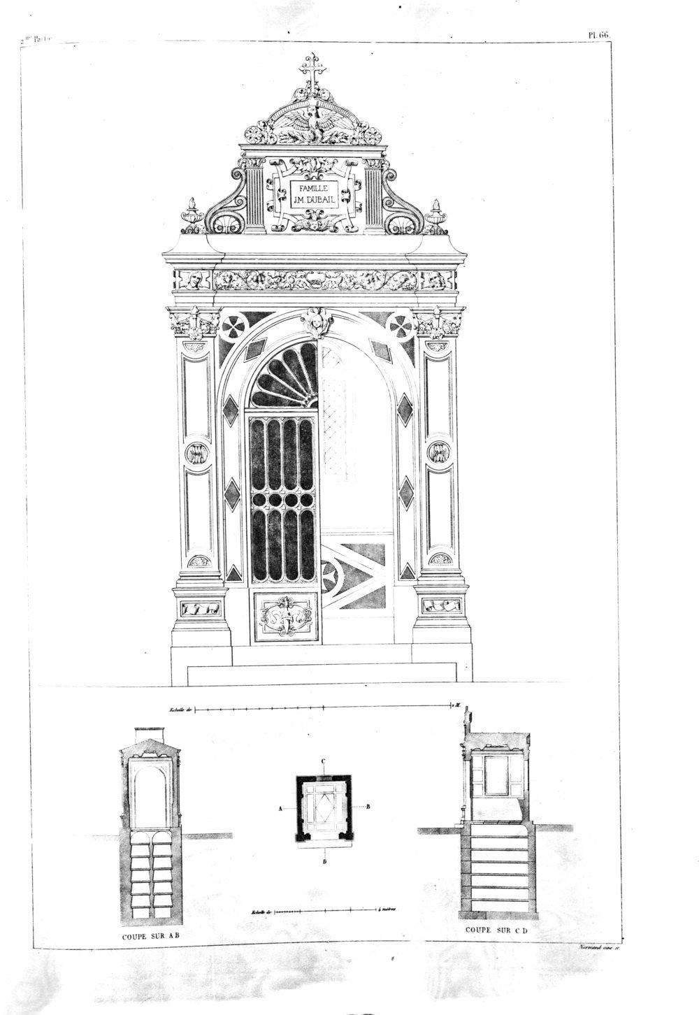 Monuments funéraires choisis dans les cimetières de Paris et des principales villes de France, 2nd part, 1863, by L. Normand Paris: A. Morel Publisher plate 66