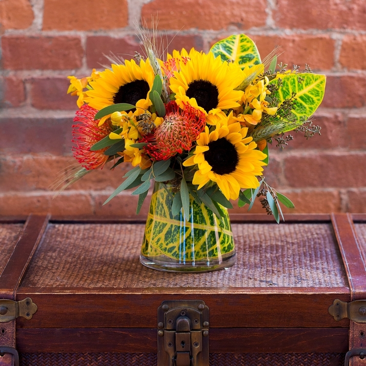 fall arrangement boston sunflowers