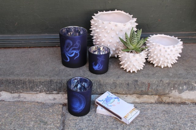 ~nautical votives~sea urchin pots~blue crab matches~