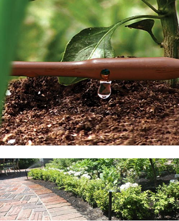 Irrigation - Irrigation is important for plant establishment. Watering deep to the root system is ideal for all plants. Whether a courtyard garden, or container planting, managing water flow is vital for plant health.We customize all irrigation installs to the landscape. Most systems have multiple zones as some areas require more water than others, depending on sun exposure or specific plant needs. By using drip irrigation, we decrease water consumption and limit disease.Our irrigation systems are hands-off to you with timers and maintenance checks by our team. Each spring our systems are turned on and checked for any repair needed. Once all systems are checked service for Spring (April) until late fall or early winter (October/November) will begin. Weatherization in Fall will clear out and prepare the systems for Winter.