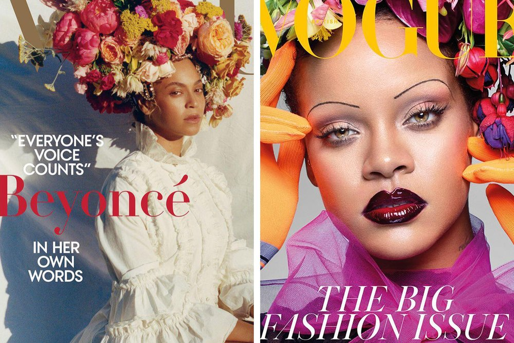Beyoncé and Rhianna rocking flower crowns in the Vogue September issues.