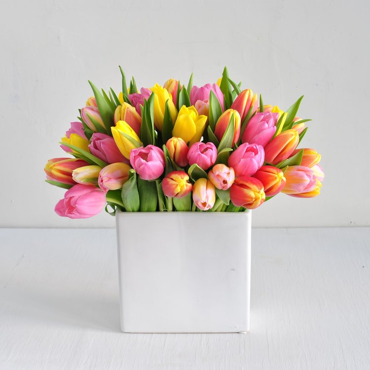 A selection of spring toned tulips are gathered in a white ceramic vase. Our designers will choose the freshest of tulips to create a spring mix in varying colors. Shades of pinks, creams, yellows, oranges, whites and more will be available throughout the season.  Originally $65 now only $55
