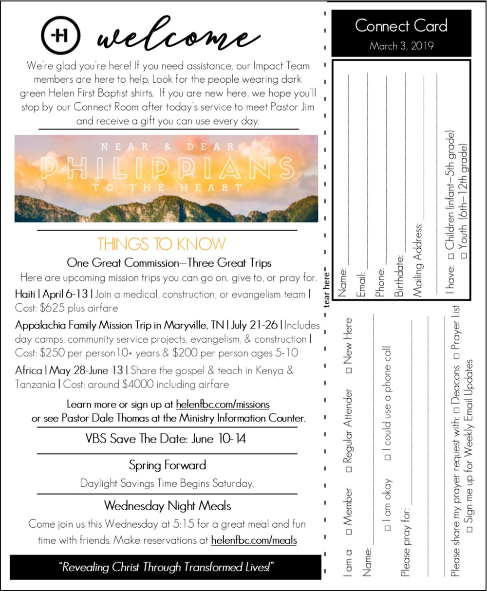 Front of Bulletin