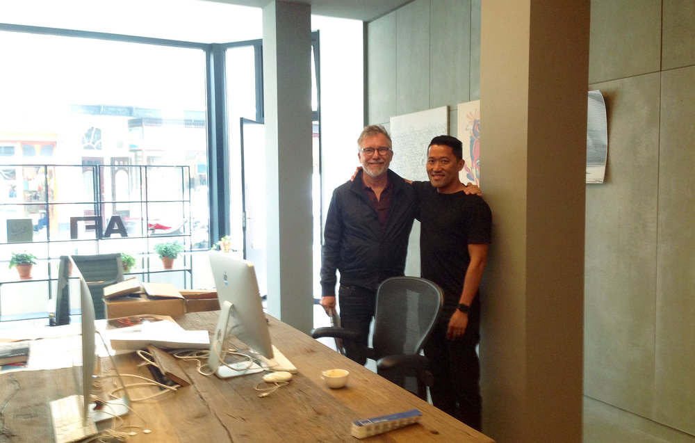 Alvin Chan and Christian posing at Alvin's studio in Hague