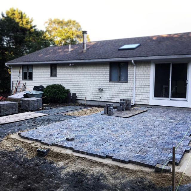 Another patio space, in Falmouth, on its way to completion! Just in the nick of time to enjoy their new outdoor space in the fall air here on Cape! 🍁 Budget not calling for field stone? Well, there are many alternatives that still offer a decently made product, such as some paver products. Lots of color options too! #patio #outdoorspaces #hardscape #landscapedesign #capecodlandscape #capehouse #summerhouse #makeityours
