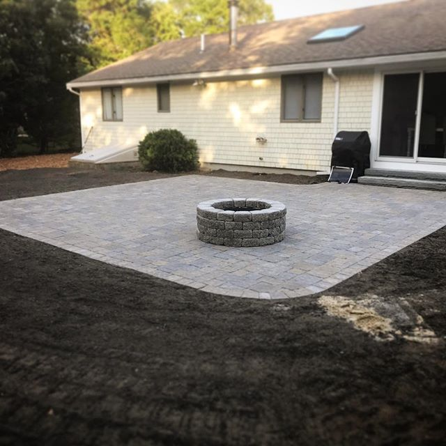 Nice little update on the patio portion of this customers new outdoor space we are creating for her! Next up, sod! #outdoorspaces #hardscapedesign #landscapedesign #capecodlandscape #wip #patiodesign