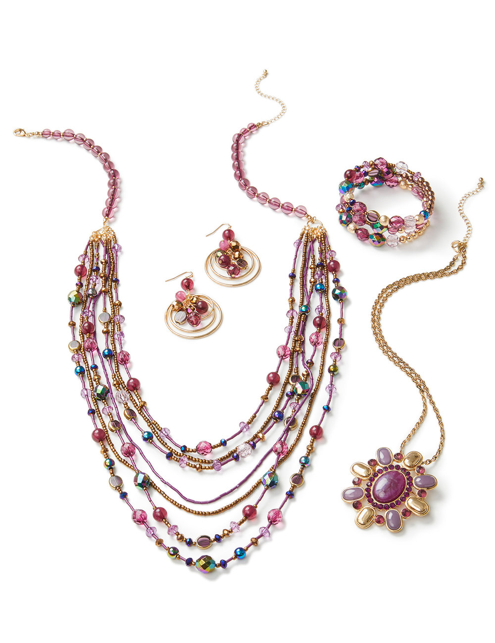 retouched product laydown of multi-beaded necklace, earrings, and bracelet jewelry set on white background