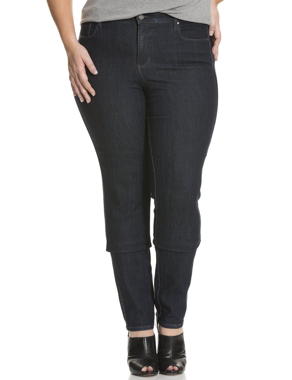dark denim straight leg jeans on model for ecommerce site