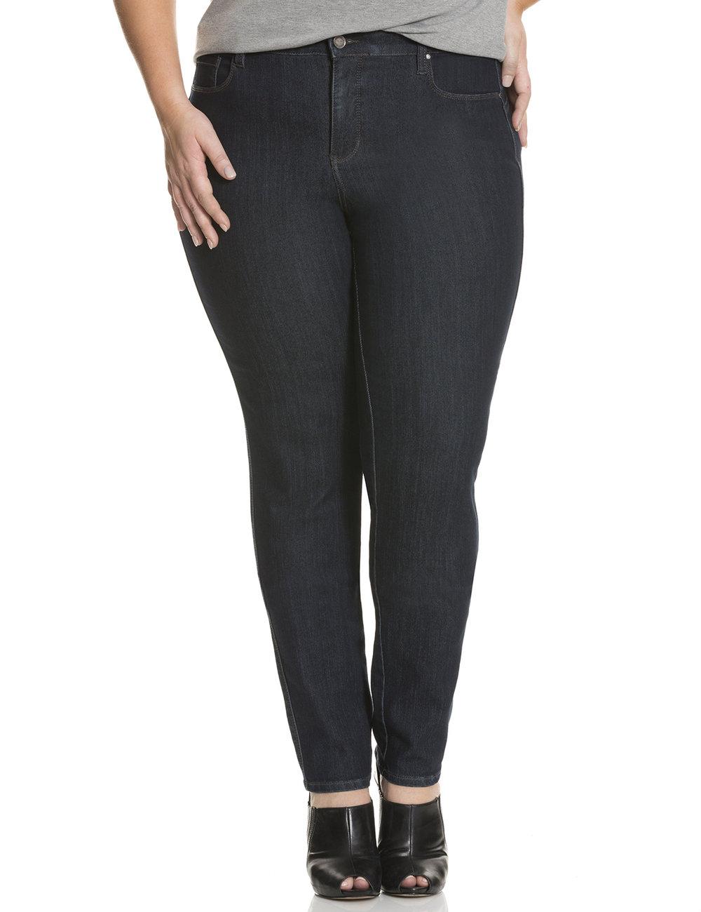 retouched dark denim straight leg jeans on model for ecommerce site