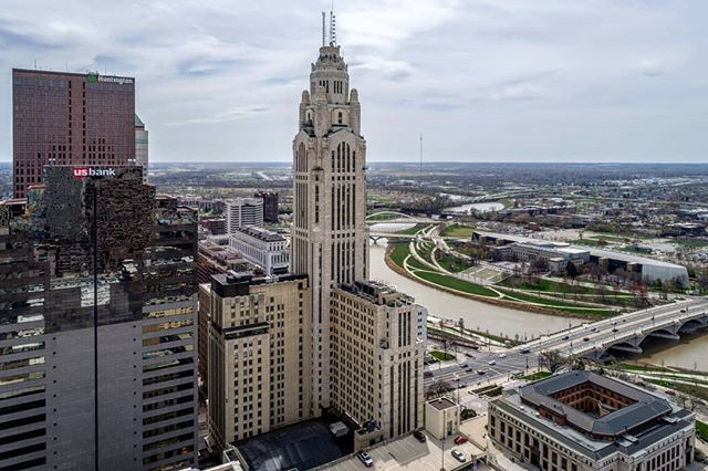 The beautiful LeVeque Tower completed in 1927. Always catches my eye when I'm downtown. . . . #dronephotography #drone #djiglobal #fromwhereidrone #drone_countries #explorecreate #beautifulplaces #droneofficial #skypixel #skyhilife_drones #gameofdronez #dronedose #dronespace #dronedaily #iamdji #droneart #thedroneu #droneglobe #dronenerds #majestic_earth #mastershots #beautifuldestinations #electic_shotz #earthpix #dronepals #agameoftones #watertower #wanderlust #downtown #skyline