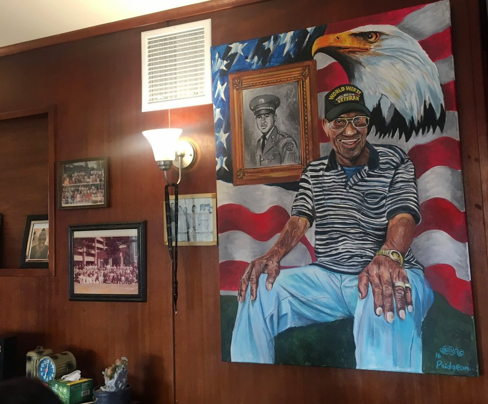 A portrait gifted to Richard Overton on his 110th birthday by a fellow veteran.