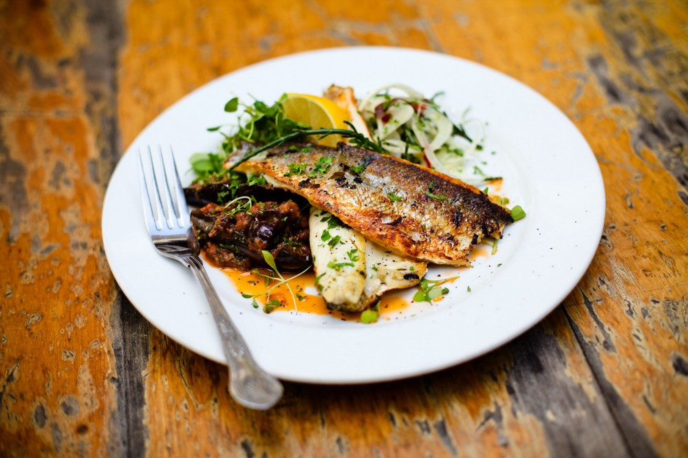 Smoked seabass fillets, aubergine bayildi, shaved fennel, lemon, mint, chilli & samphire