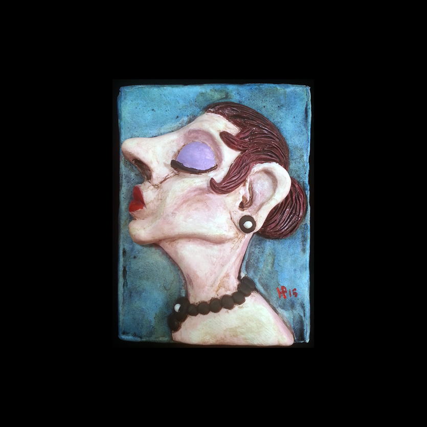 "Study for Queen of Hearts  3"" x 4""  Polymer Clay, Mixed Media  2015  Howard Penning"