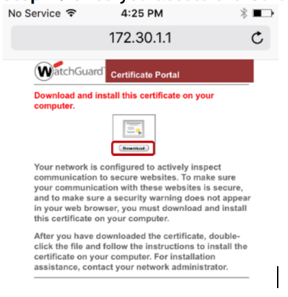 WatchGuard DPI on an iPhone